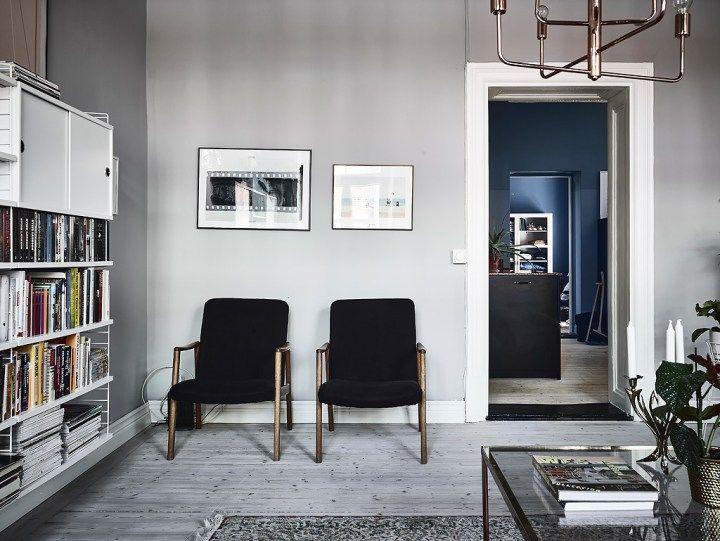 paredes oscuras madera natural estilo nórdico oscuro estilo ecléctico Dormitorio con paredes oscuras decoración oscura decoración muebles ikea decoración escandinava colores oscuros piso blog decoración nórdica