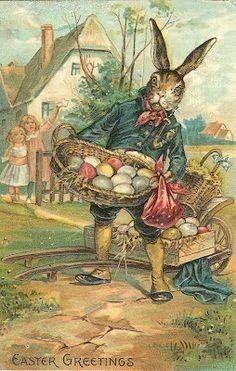 Vintage Easter Bunny and children
