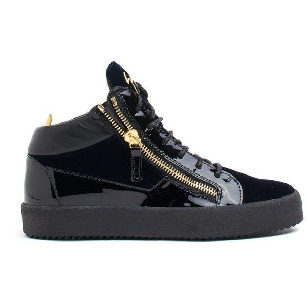 Giuseppe Zanotti Design Zip Detail Hi Top Sneakers ($540) ❤ liked on Polyvore featuring men's fashion, men's shoes, men's sneakers, blu, giuseppe zanotti mens sneakers, mens rubber sole shoes, mens high top sneakers, mens lace up shoes and mens navy blue sneakers