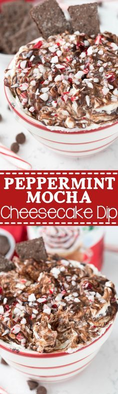 Peppermint Mocha Cheesecake Dip - this easy dip recipe is perfect for Christmas parties! It's so fast to make and the perfect peppermint recipe to feed a crowd.