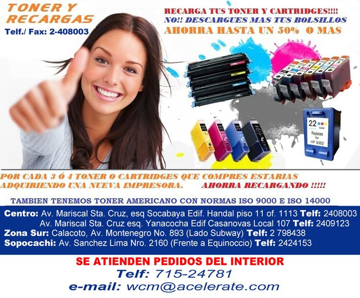 TONER Y RECARGAS - Recarga tus Toner y Cartridges y ahorra hasta un 50% - No Descargues más tus bolsillos!
