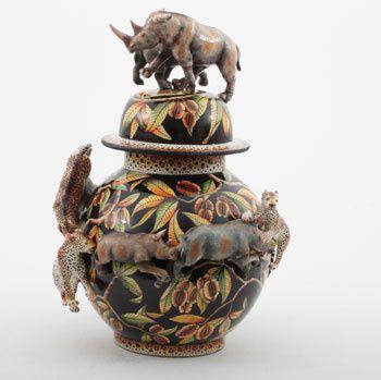 Ardmore Ceramics: Rhino Leopard Tureen AAA