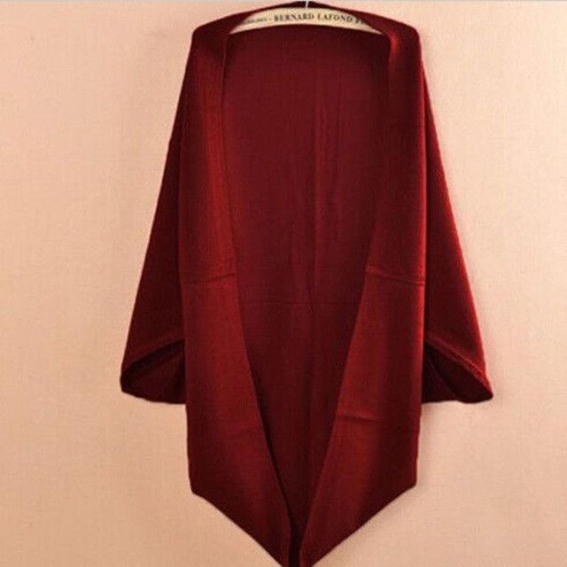 6 Colors Women Loose Shawl Batwing Sleeves Lady Knit Sweater Coat Woolen Women Cardigans Red/Black Free Size