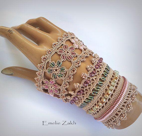 Victoriano de ganchillo pulsera cordón pun o joyería por EZDessin