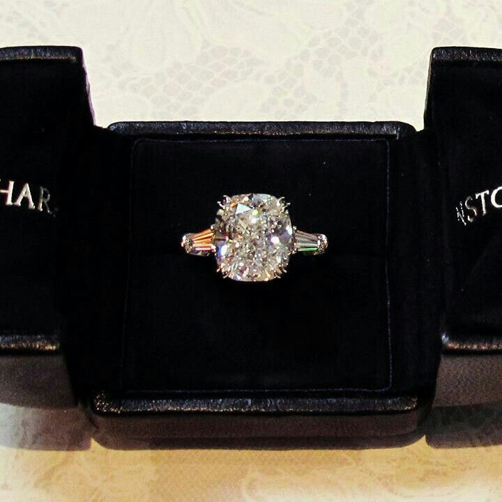 Holy perfection cushion cut center stone with baguette side diamonds Harry Winston  bling