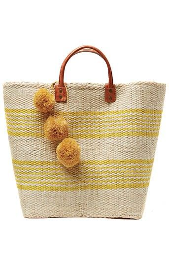 Mar y Sol Caracas Wonen Sisal Basket with Pom Poms in Sunflower at Pesca Boutique. - Price: $94.00