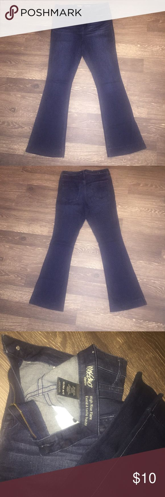 Dark denim flare leg jeans by Mossimo Dark denim flare legged jean. Worn once. Excellent condition. Mossimo Supply Co Jeans Flare & Wide Leg