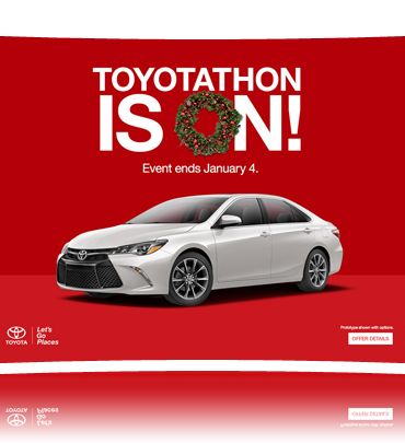 Toyotathon is on!  The biggest Toyota sales event of the year now through January 4th. Great incentives to choose from at Anderson Toyota Scion in Loves Park Illinois!
