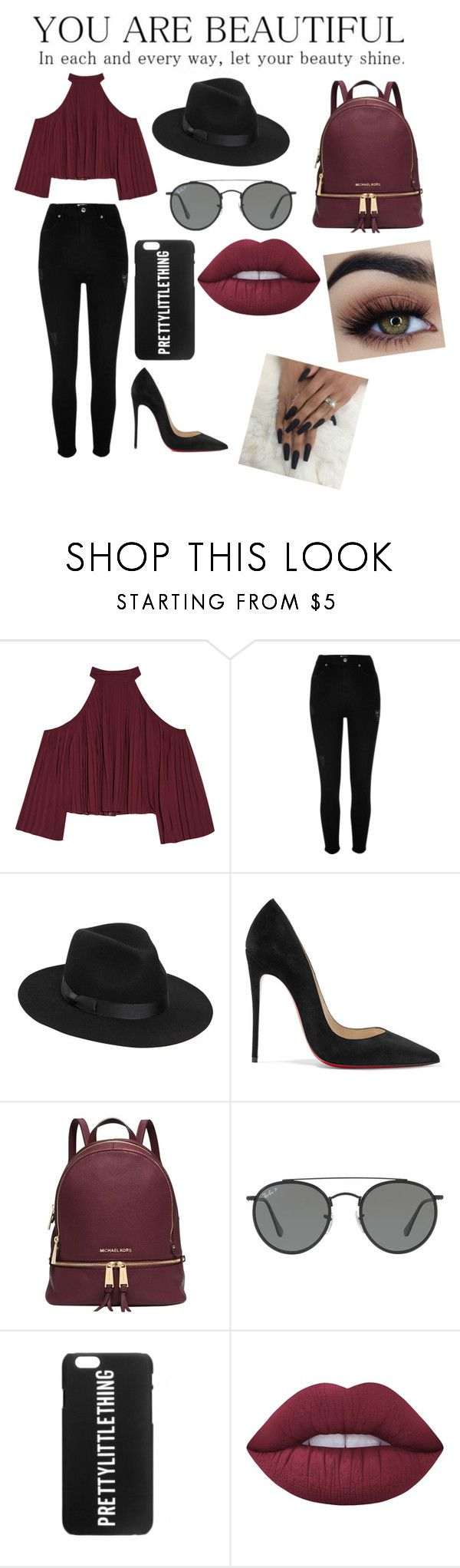 ♥️ by iamthequeenofwonderland on Polyvore featuring moda, W118 by Walter Baker, River Island, Christian Louboutin, Michael Kors, Lack of Color, Ray-Ban and Lime Crime