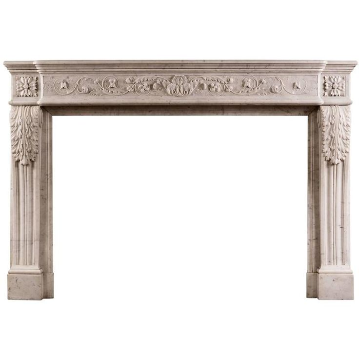 Finely Carved Louis Xvi Style Marble Fireplace