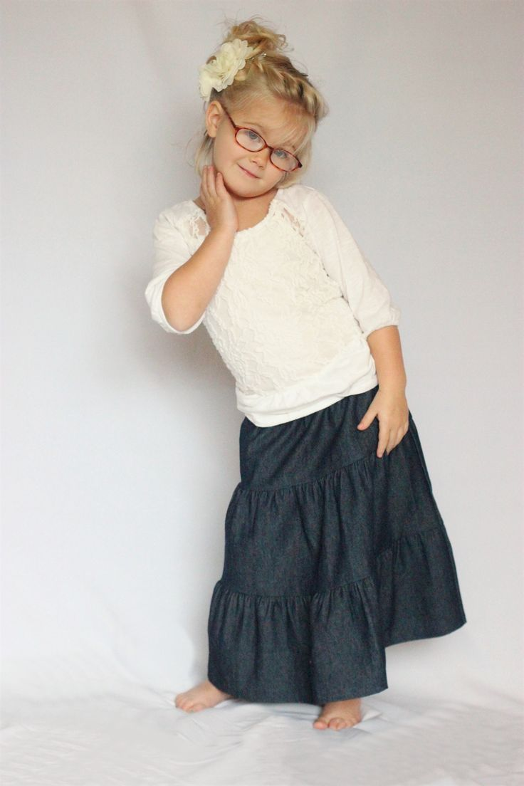 Girls Dark Denim Tiered Long Skirt, Sizes 2-7