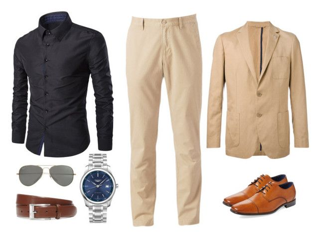 """""""8. Camisa gris oscuro Pantalón crema"""" by andreamariafernandez on Polyvore featuring SONOMA Goods for Life, Michael Kors, Gordon Rush, Longines, HUGO, Parasol, men's fashion and menswear"""