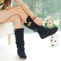Women Fashion Autumn Winter Boots Lace Cuff Increased Internal Shoes Hotsale New