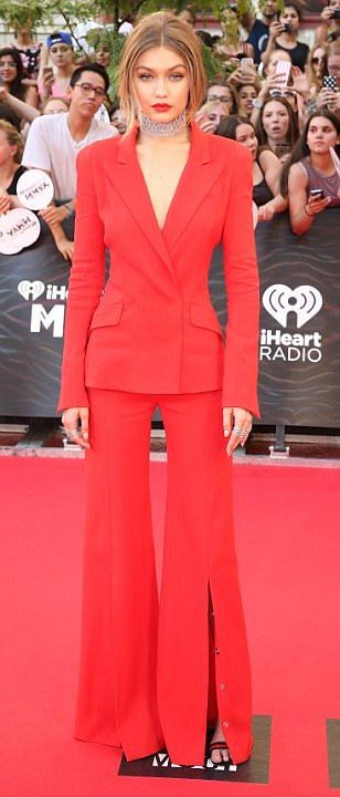 Gigi Hadid in red suit at 2016 iHeartRadio Much Music Video Awards