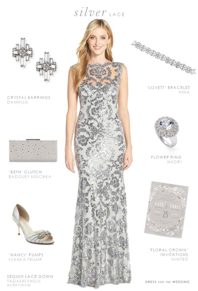 Silver lace gown and accessories for a mother of the bride dress or maid of honor dress. #motherofthebride