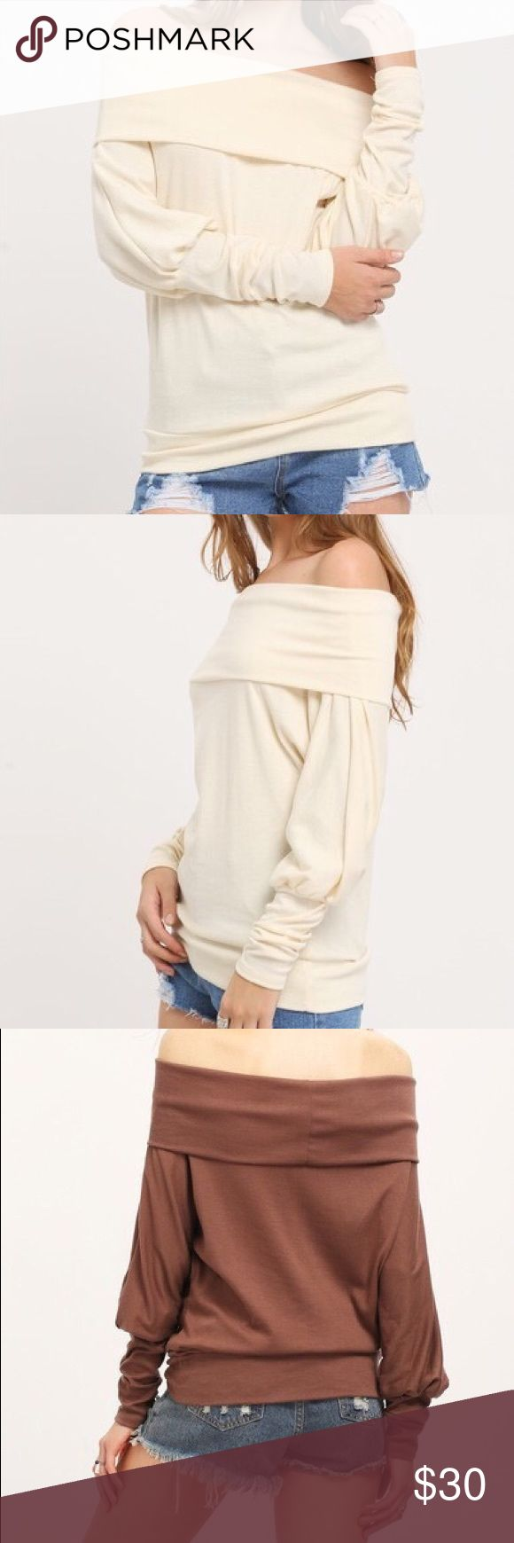 """Coming Creamy open shoulder batwing T shirt S Bust 41"""" length 23.6"""" M Bust 42.5"""" length 24"""" L Bust 44"""" length 24.8"""" XL 45.5"""" length 25.2"""" Tops Tees - Long Sleeve"""
