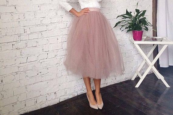 Dusty rose Tulle Skirt Fixed Waist Tea by MyStylishFantasy