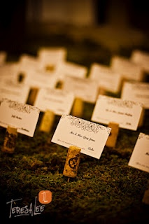 From a wedding at the Pinery - love these place cards with the wine corks on moss!!