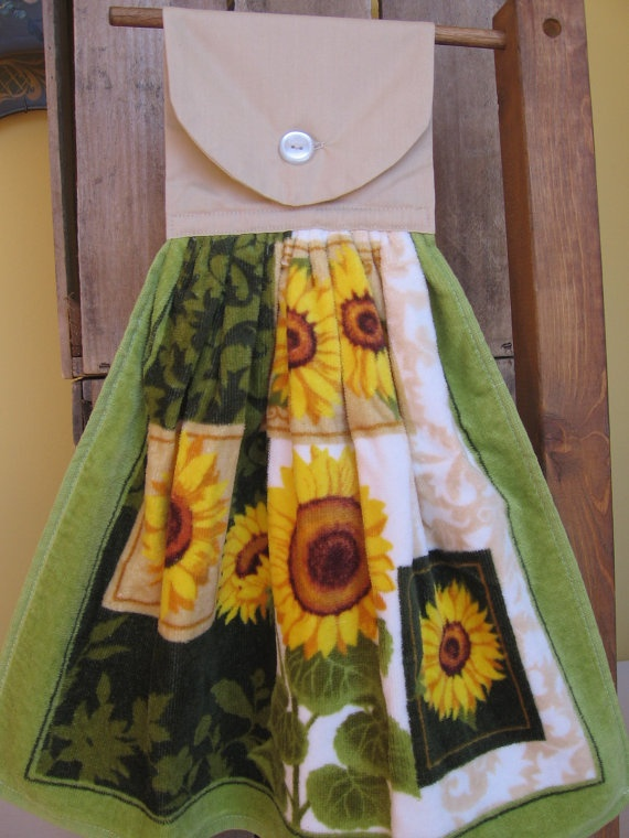 RESERVED For SUSAN Sunflower Kitchen Towel Hanging Kitchen Towel With  Sunflowers