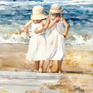 Morning March is an Open Edition Giclee Art featuring sisters Hannah and Ella marching along the seashore in the early morning sun. Mommy and Daddy lag behind the procession as their daughters parade on the beach. Hello sun! the girls shout as they strut along the sandy shore. The silent sun beams at the youngsters joy.  This art print is created on archival paper and looks and feels like the original watercolor. The smaller prints are cropped to fit the size but the beauty of the image is…