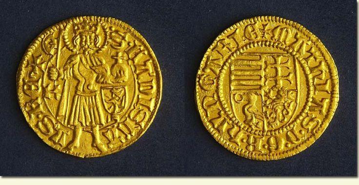 Mátyás király 1461-62-ben Körmöcbányán vert aranypénze.  Magyar Nemzeti Múzeum, Éremtár. A MNM szíves engedélyével.