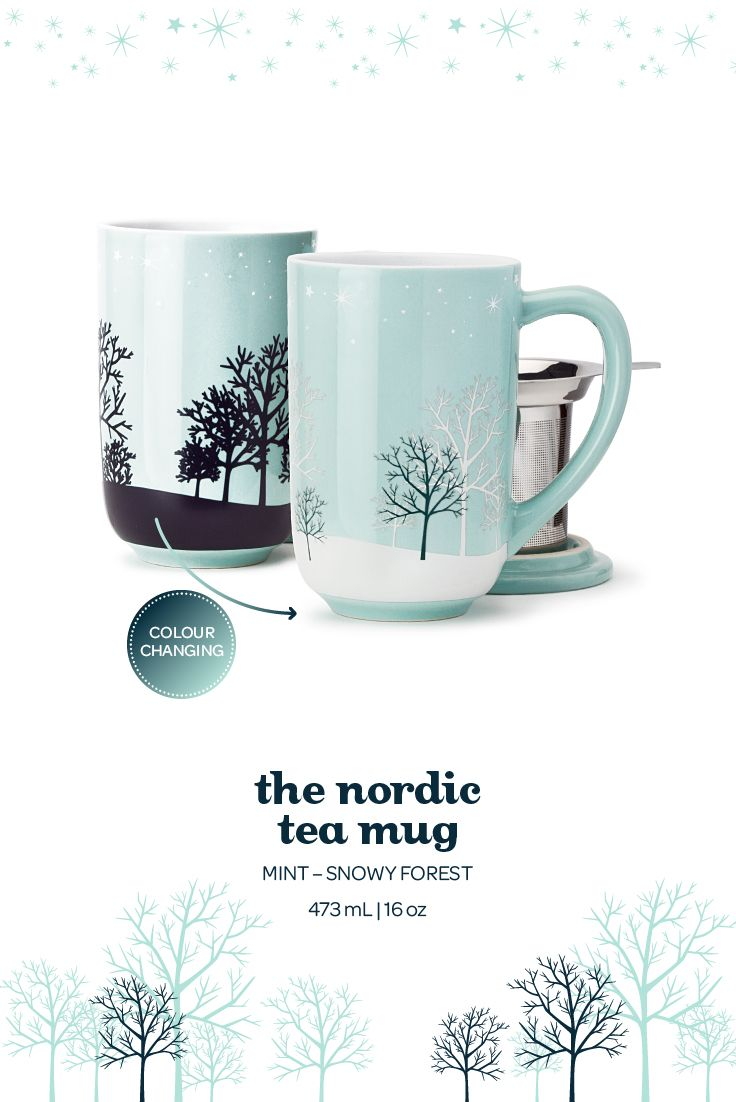 The Nordic Mug - Colour Changing Snowy Forest. When you add hot water to this serene wintery mug, the forest design changes to white.