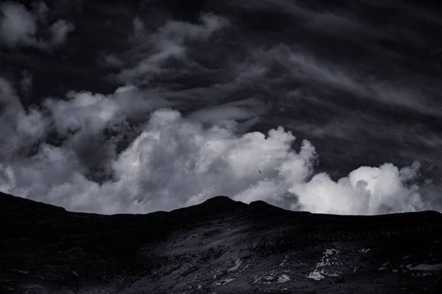 Layers of mountain cloud and sky.