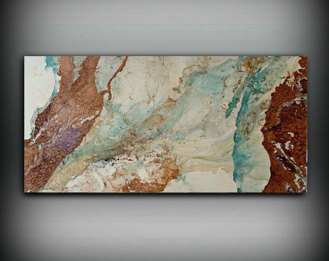 ORIGINEEL schilderij, Art schilderen Acryl schilderij abstracte schilderkunst, koperen muur opknoping, XL Extra grote kunst aan de muur, moderne Wall Decor 24 x 48