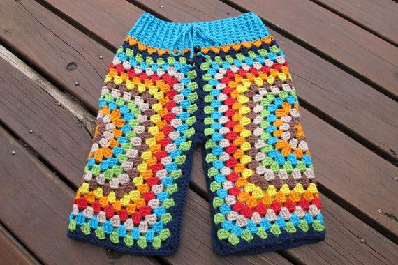 Lunar Pants - Crochet funky Lunaress original toddler baby pants. Gypsy, hippy, boho fashion. Granny square pants.
