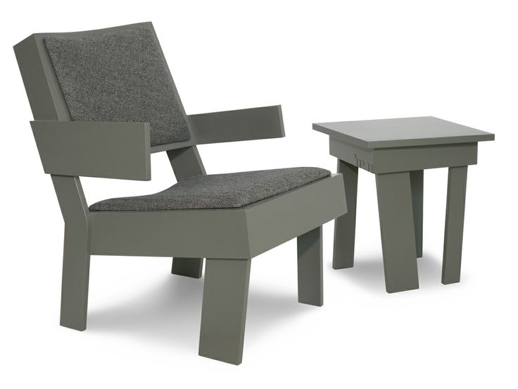 furniture collection   TOM FRENCKEN   low chair with tweed upholstery and side table.