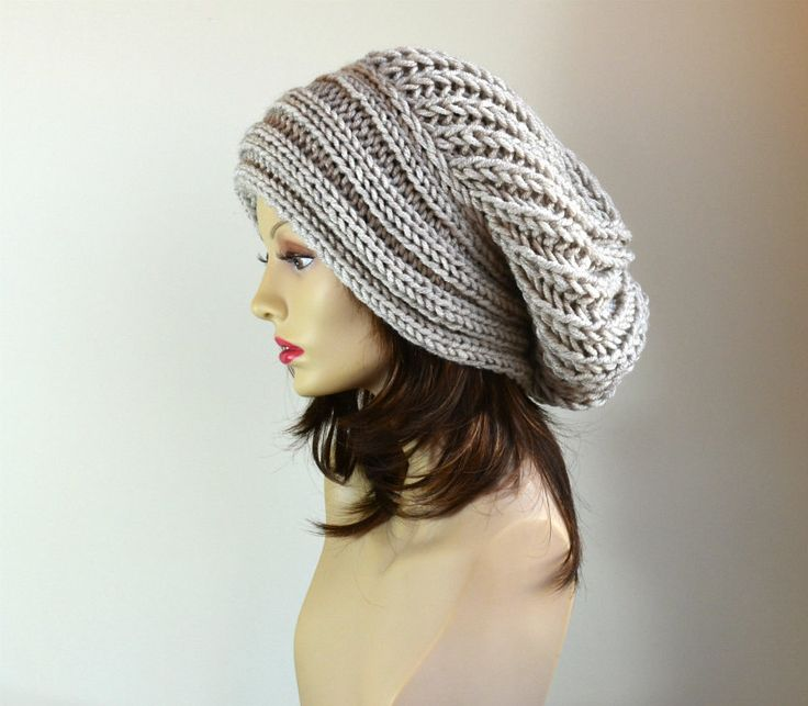 Slouchy Beanie  Slouchy Hat  Hand Knit Hat