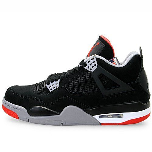 Mens Nike Air Jordan Retro 4 Basketball Shoes Black / Cement Grey / Fire  Red 308497