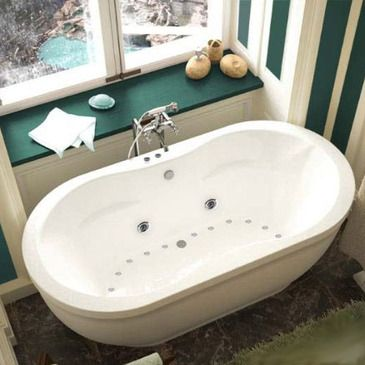 The Aquatica whirlpool series features contemporary elliptical design, increasing the inner length of the bathtub. Slight side inset of the side edge adds a sense of modern design, which will compliment bath and sauna rooms of various settings and styles.  The Atlantis Whirlpools jet massaging...