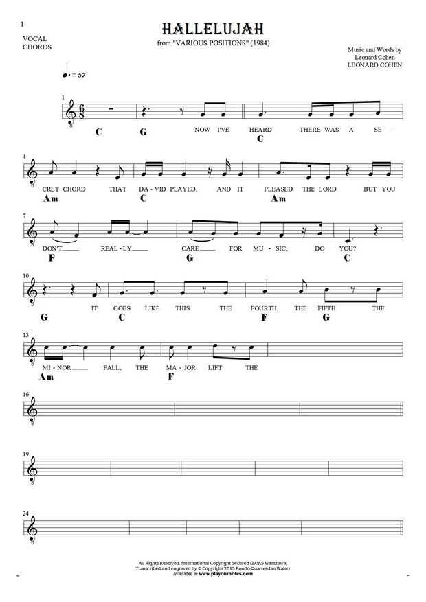 Hallelujah - Notes, lyrics and chords for solo voice with ... Hallelujah Chords