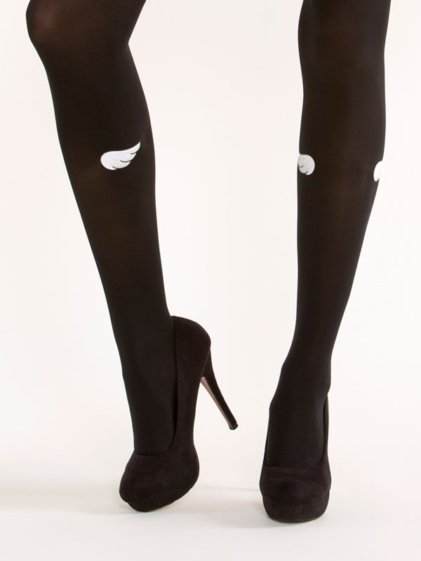 Wings tights! Small cute wings on semi-opaque black tights (the pattern is on both sides).
