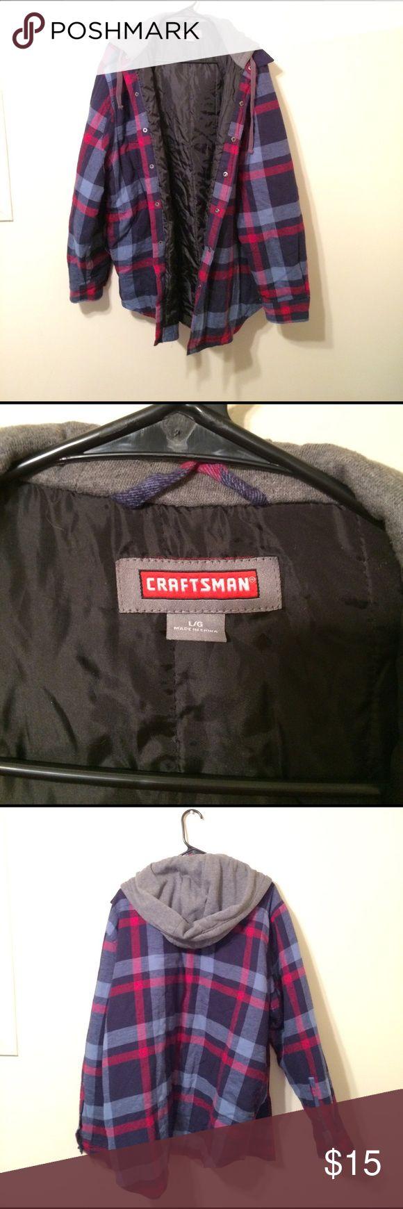 Craftsman plaid jacket with hood Craftsman red and blue plaid jacket with grey hood. Very warm. Jackets & Coats Bomber & Varsity
