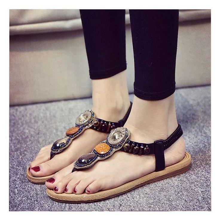 $9.95 (Buy here: https://alitems.com/g/1e8d114494ebda23ff8b16525dc3e8/?i=5&ulp=https%3A%2F%2Fwww.aliexpress.com%2Fitem%2FSummer-Women-Shoes-2016-Bohemian-Women-Sandals-Gemstone-Beaded-Slippers-Sandals-Ladies-Flat-Sandals-Black-White%2F32691689106.html ) Women Sandals Summer Shoes 2017 New  Women Flip Flops Sandals Bohemia Style Women Flat Sandals for just $9.95