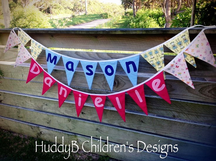 Personalised bunting flags.