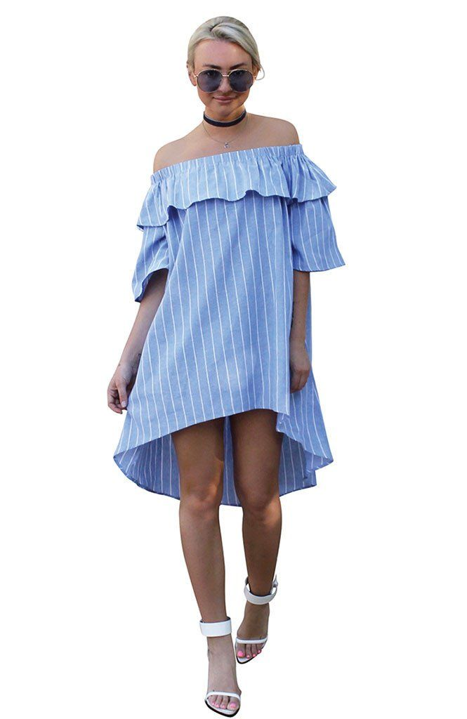 Santa Monica Off-Shoulder Dress - Shop vacation-ready styles at TRAVELLERS' ROBE – Don't miss out on our utterly GORGEOUS Santa Monica off-shoulder dress in blue with white stripe. An easy to wear, breezy silhouette, just perfect for your next holiday. Dress features an asymmetrical hem, short in front and around knee length at back. Be quick - this one is just gorgeous and lovely to wear thanks to 100% cotton fabrication. Shop it now, xo.