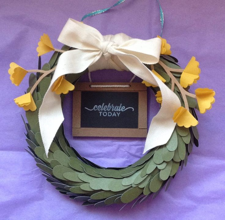 Lovely little wreath made from a Paper Pumpkin kit in 2016. Colours work for multiple seasons and the branch can be swapped out for one with berries for winter!