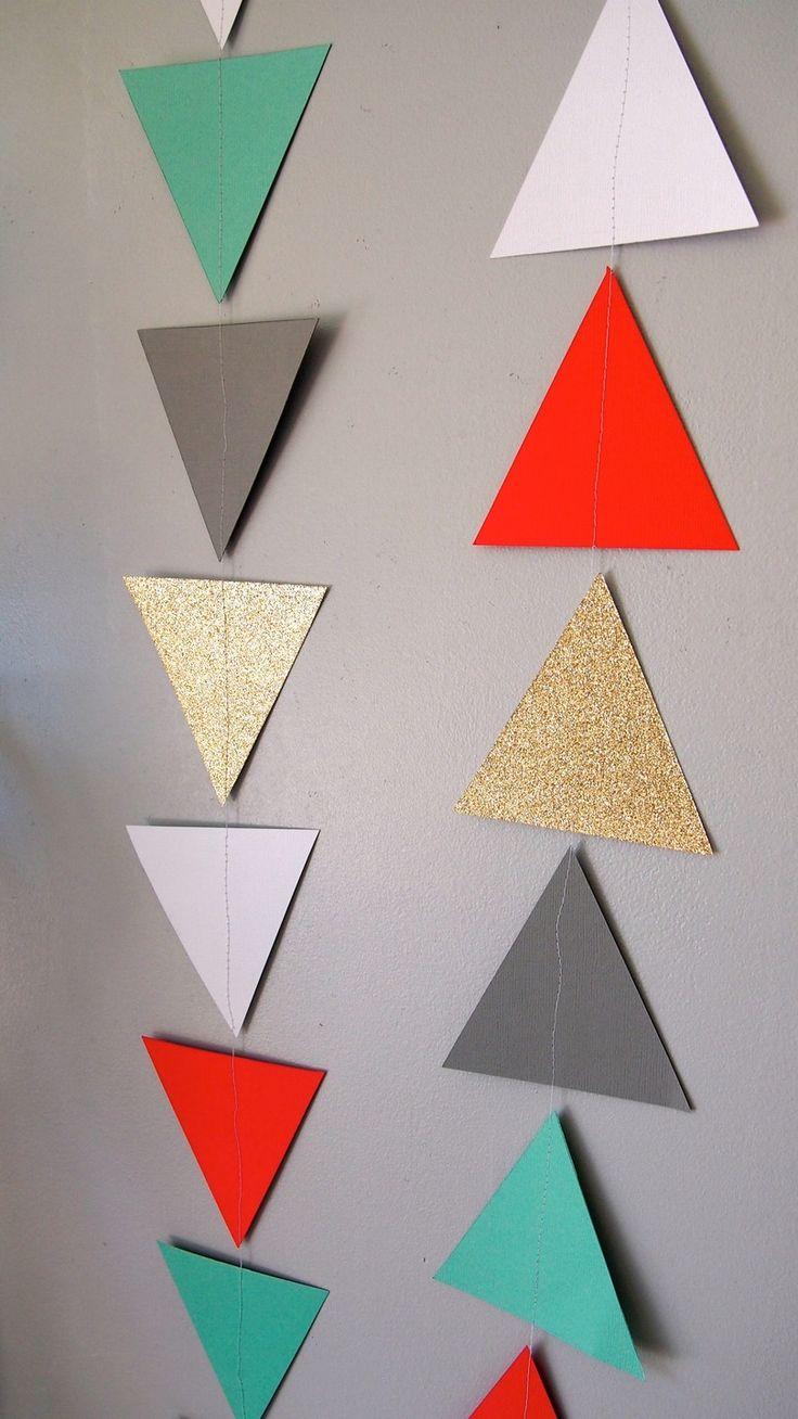 Guirlande fanion, triangle décoration murale, corail, gris, vert d'eau, blanc et doré pailleté