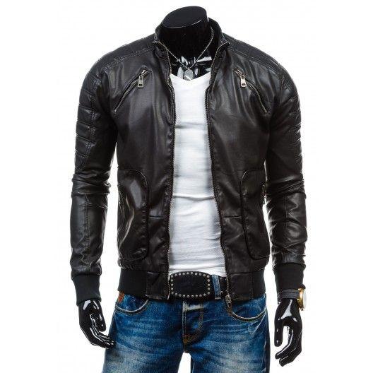 Moderná pánska kožená bunda čiernej farby - fashionday.eu