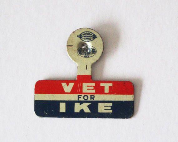 Original Vet for Ike Collar Tab 1952 Presidential Election