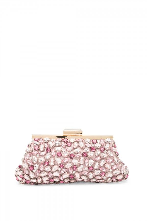 Rigid clutch bag covered in hard stones.