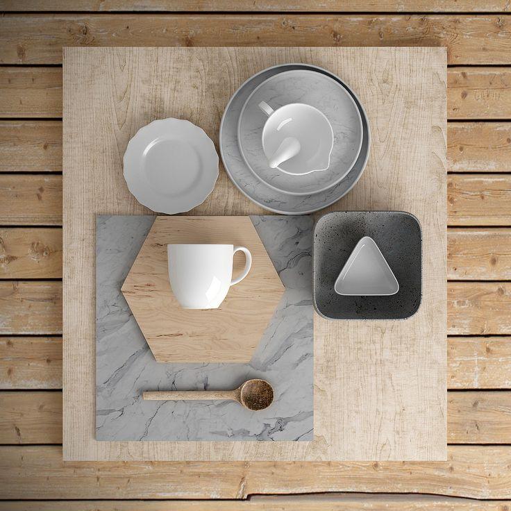 #interior #kitchen #wood #dinnerware #gray #stillLife - Modellazione e rendering: Rhinoceros, Cinema 4D + Vray Post-produzione: Photoshop