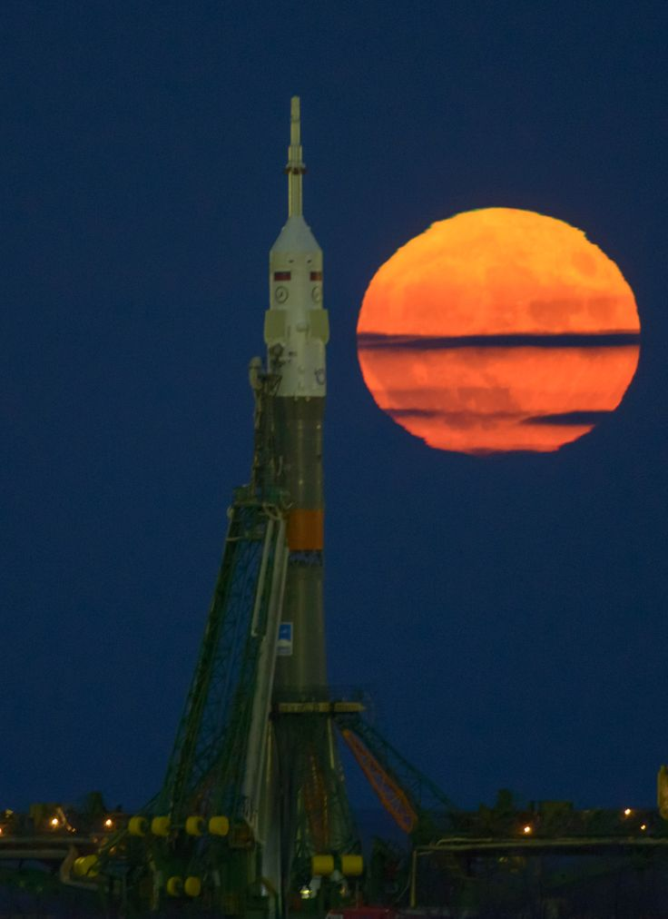 Supermoon and Expedition 50 Soyuz The moon or supermoon is seen rising behind the Soyuz rocket at the Baikonur Cosmodrome launch pad in Kazakhstan Monday Nov. 14 2016. NASA astronaut Peggy Whitson Russian cosmonaut Oleg Novitskiy of Roscosmos and ESA astronaut Thomas Pesquet will launch from the Baikonur Cosmodrome to the International Space Station at 3:20 p.m. EST Nov. 17. November 14 2016