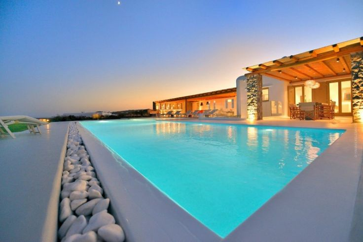 "Villa Rosalie is a luxurious Villa of high aesthetics with a private pool, located at a short distance from the cosmopolitan beach of ""Elia"" and just 10km away from Mykonos town."