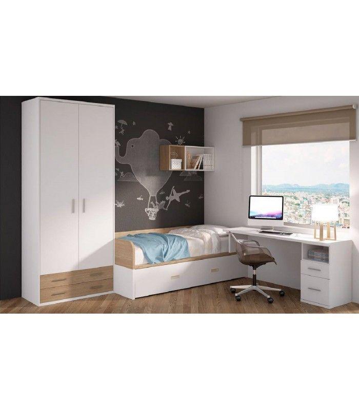 Dormitorio juvenilorientado para aprovechar al máximo el espacio. Con cama nido, mesa solapada y armario ropero con cajones.