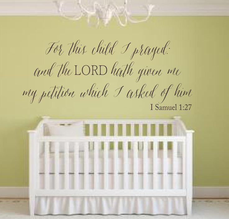 Religious Wall Decor For Nursery : For this child i prayed kjv scripture vinyl lettering wall