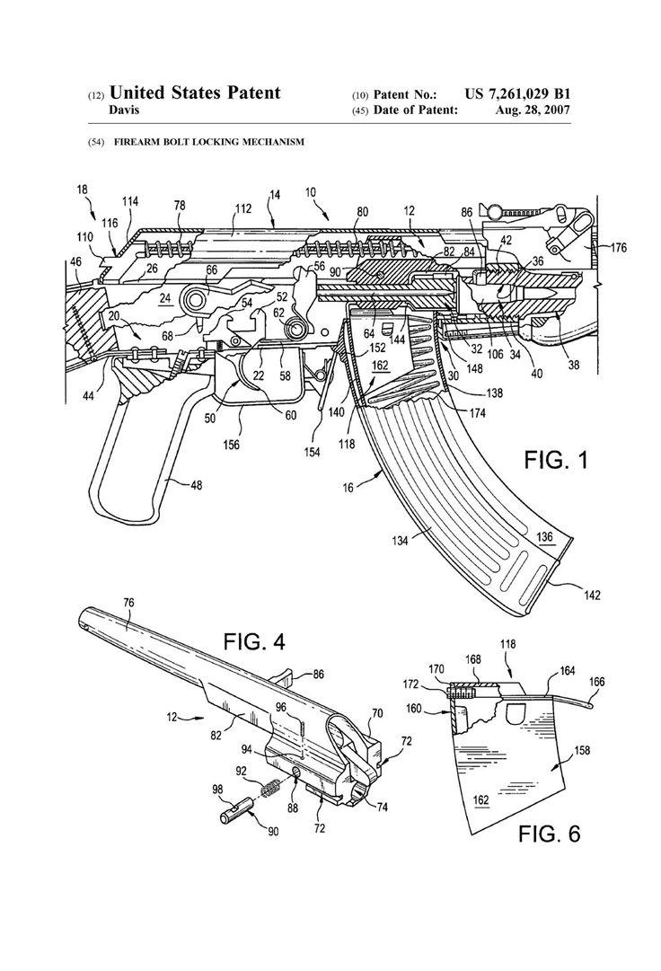 AK-47 Rifle Bolt Lock Patent Patent Print Wall Decor Gun